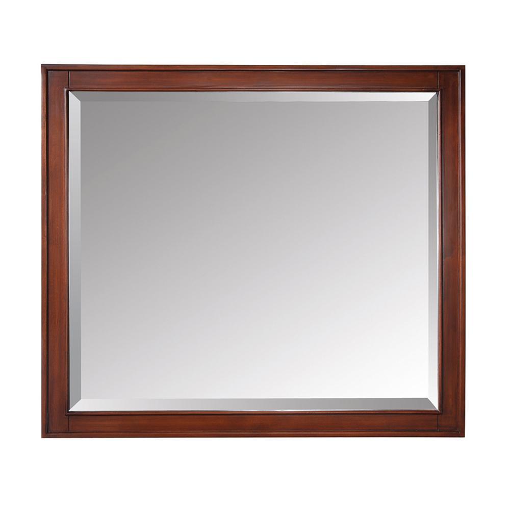 Madison 36 in. W x 32 in. H Framed Rectangular Beveled Edge Bathroom Vanity Mirror in Tobacco