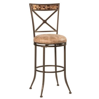 Hillsdale Furniture Compton 30 in. Brown/Beige Swivel Bar Stool