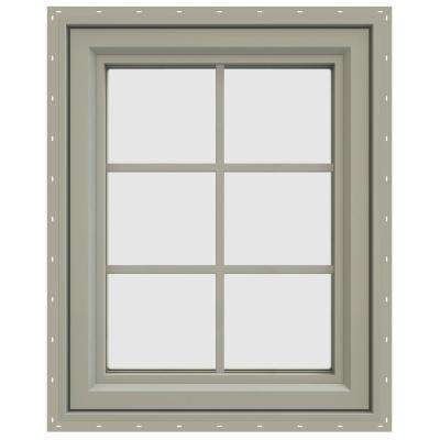 23.5 in. x 29.5 in. V-4500 Series Left-Hand Casement Vinyl Window with Grids - Tan