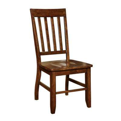 Henry Dark Oak Wood Slatted Side Chair (Set of 2)