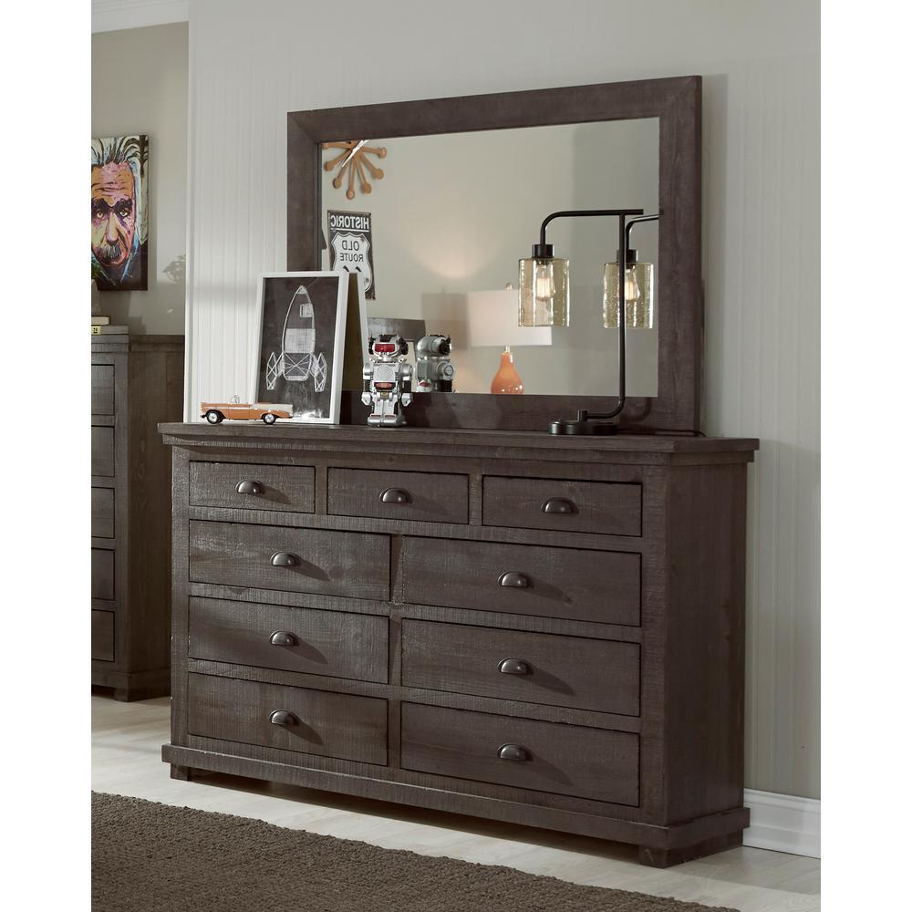 Willow 9-Drawer Distressed Dark Gray Dresser with Mirror