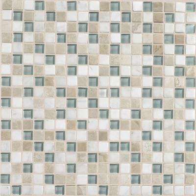 Stone Radiance Whisper Green 12 in. x 12 in. x 8 mm Glass and Stone Mosaic Blend Wall Tile (1 sq. ft. / piece)