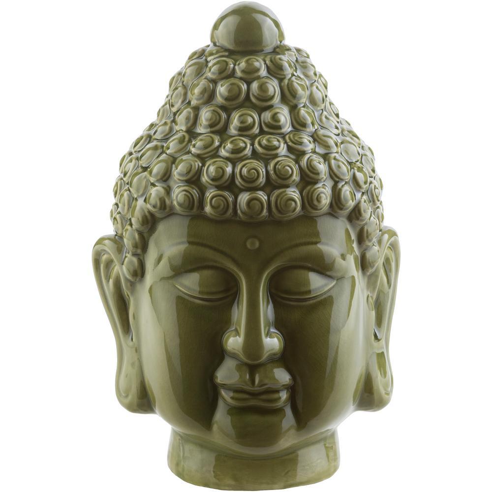 Devansh 8.7 in. x 13 in. Decorative Buddha Bust in Dark Green