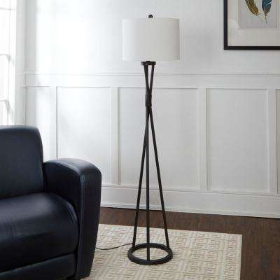 Avri Twisted Metal 61.75 Black Floor Lamp with Shade