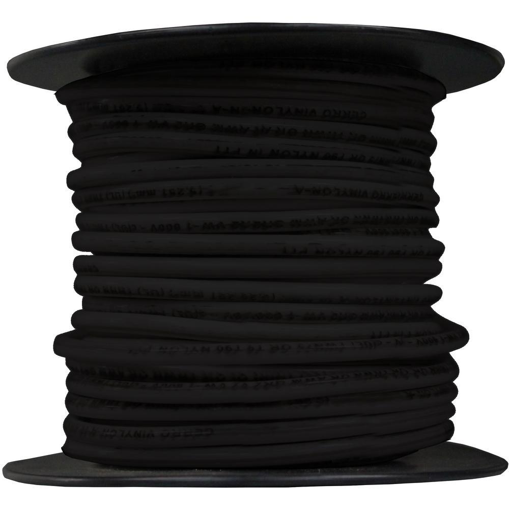 100 ft. 12-Gauge Black Solid THHN Cable