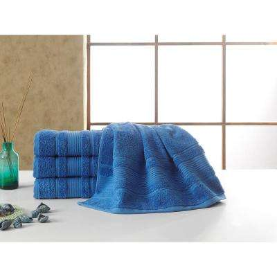 Solomon Collection 27 in. W x 52 in. H 100% Turkish Cotton Bordered Design Luxury Bath Towel in Blue (Set of 4)