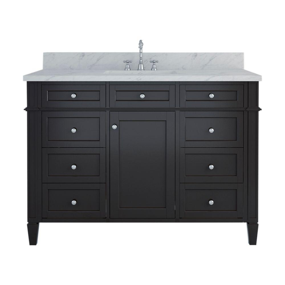 Alya Bath Samantha 48 in. W x 22 in. D Bath Vanity in Espresso with Marble Vanity Top in White with White Basin