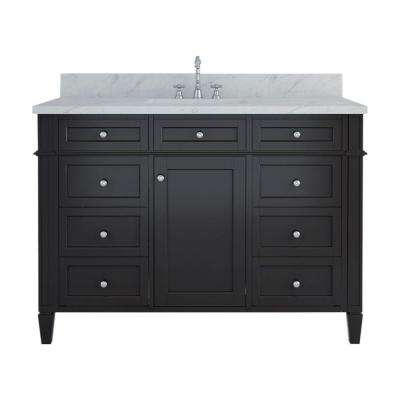 Samantha 48 in. W x 22 in. D Bath Vanity in Espresso with Marble Vanity Top in White with White Basin