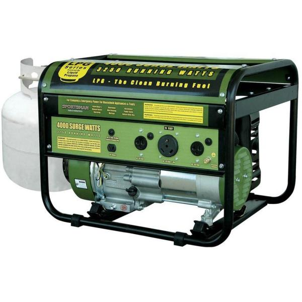4,000/3,250-Watt Propane Gas Powered Portable Generator with Clean Burning LPG and RV Outlet