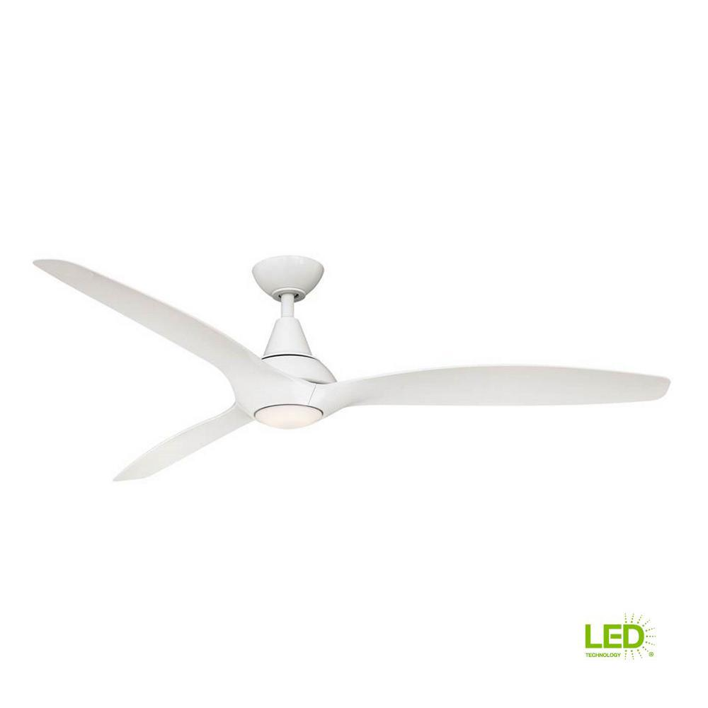 Home Decorators Collection Tidal Breeze 60 In Led Indoor White Ceiling Fan With Light Kit