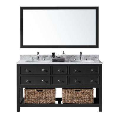 Elodie 60 in. W x 22 in. D x 34.21 in. H Bath Vanity in Espresso With White Marble Top With White Basins and Mirror