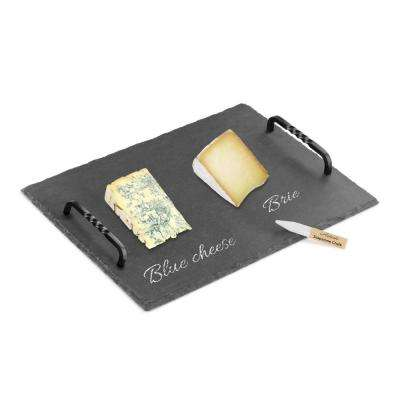 "Slate Cheese Board and Soapstone Chalk Set with Die Cast Iron Handles, 12"" x 16"", Black"