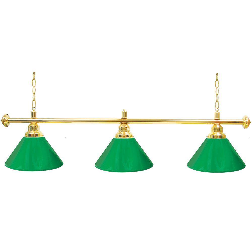 Trademark Global 60 in. Three Shade Green and Brass Hanging Billiard Lamp