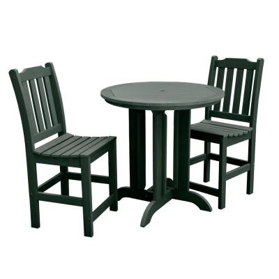 Lehigh Charleston Green 3-Piece Recycled Plastic Round Outdoor Balcony Height Dining Set