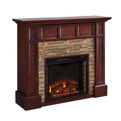 Elaine 48 in. Faux Stone Media Electric Fireplace in Whiskey Maple