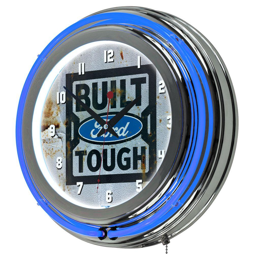 Ford 3 In X 14 Built Tough Chrome Double Rung Neon Wall Clock