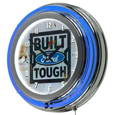 3 in. x 14 in. Built Tough Chrome Double Rung Neon Wall Clock