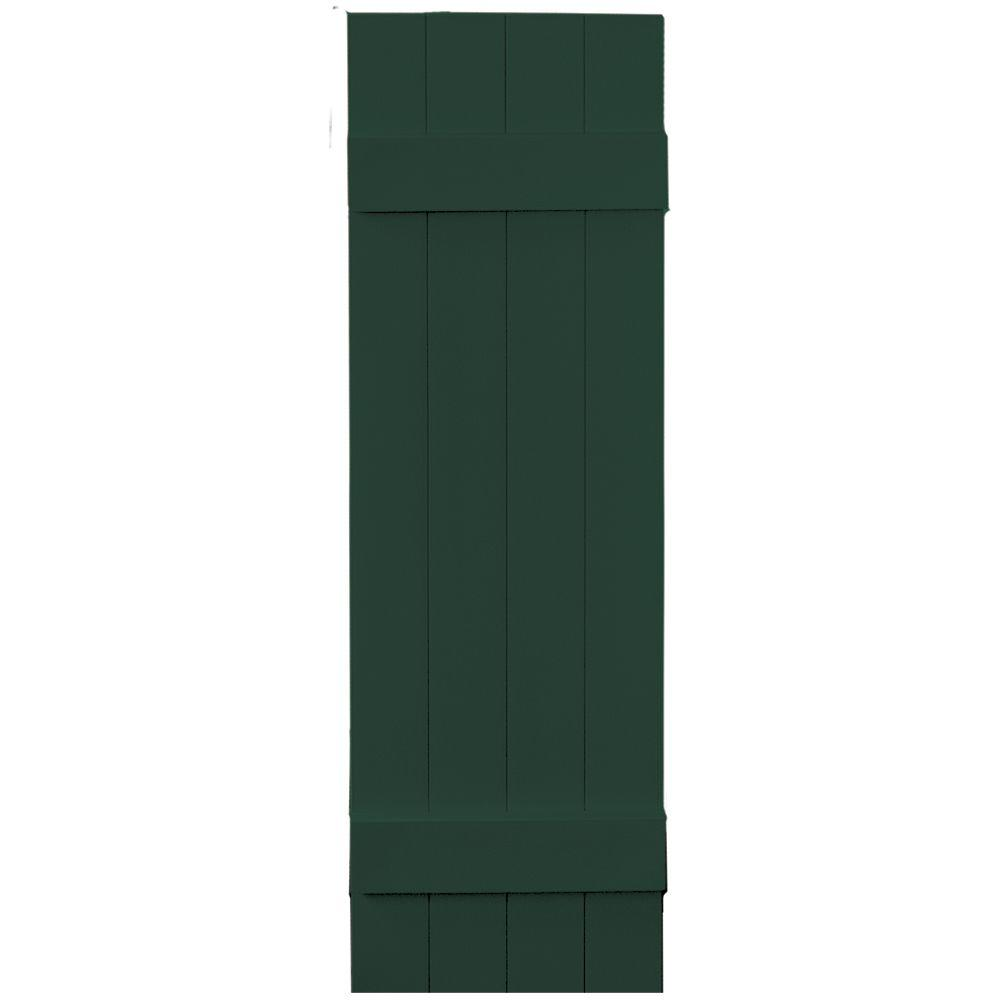 Builders Edge 14 in. x 47 in. Board-N-Batten Shutters Pair, 4 Boards Joined #122 Midnight Green