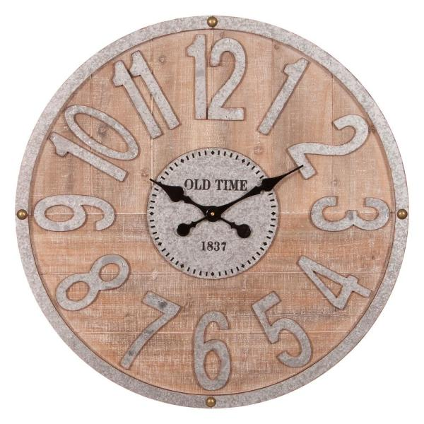 Rustic Wood and Galvanized Metal Wall Clock
