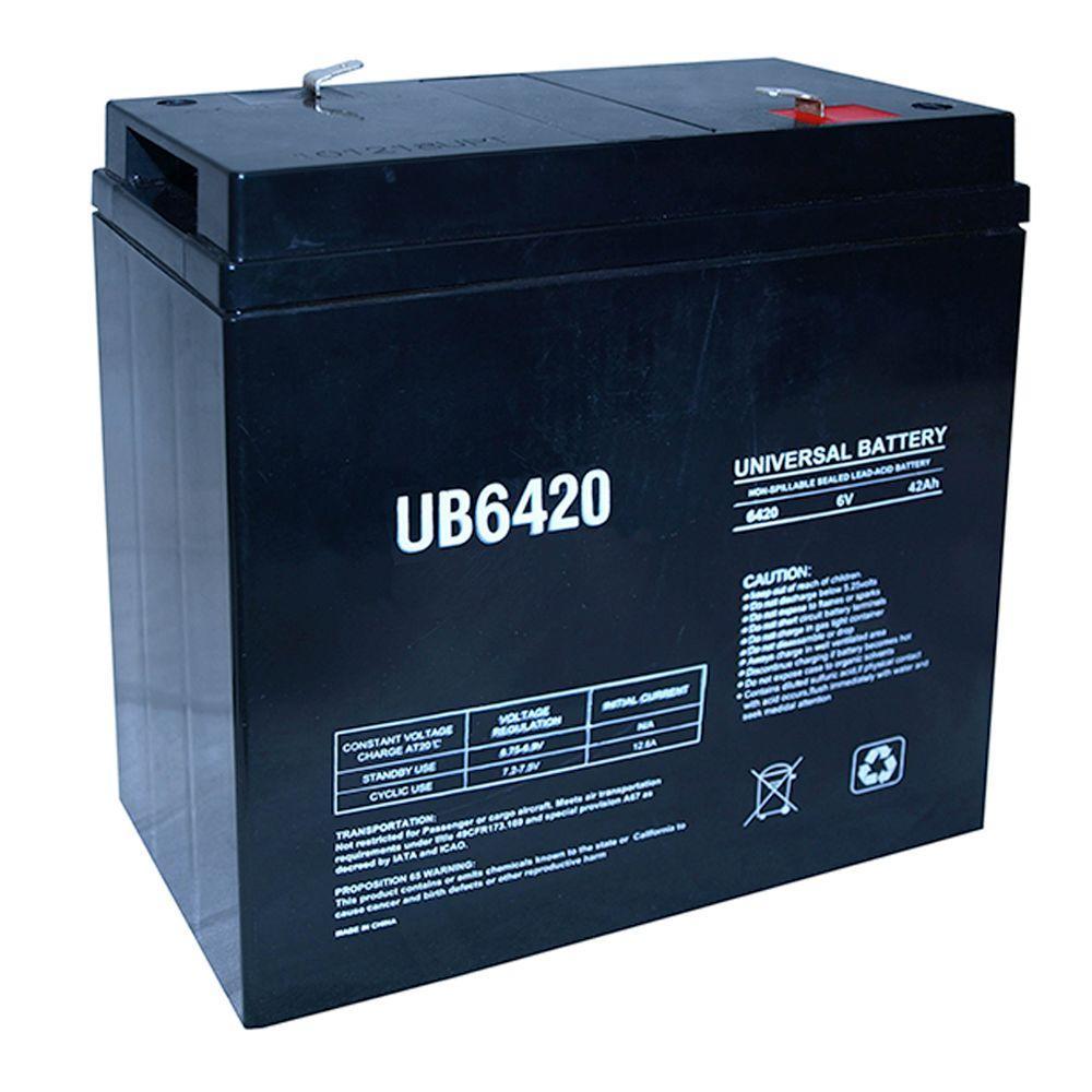6-Volt 42 Ah F2 Terminal Sealed Lead Acid (SLA) AGM Rechargeable Battery