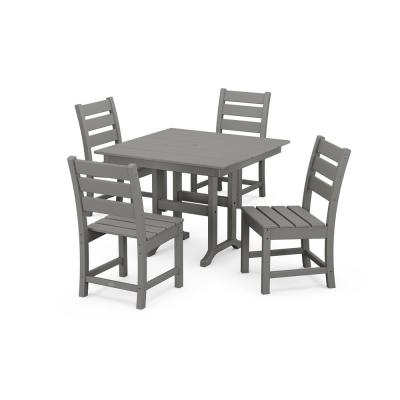 Grant Park Grey 5-Piece Plastic Side Chair Outdoor Dining Set