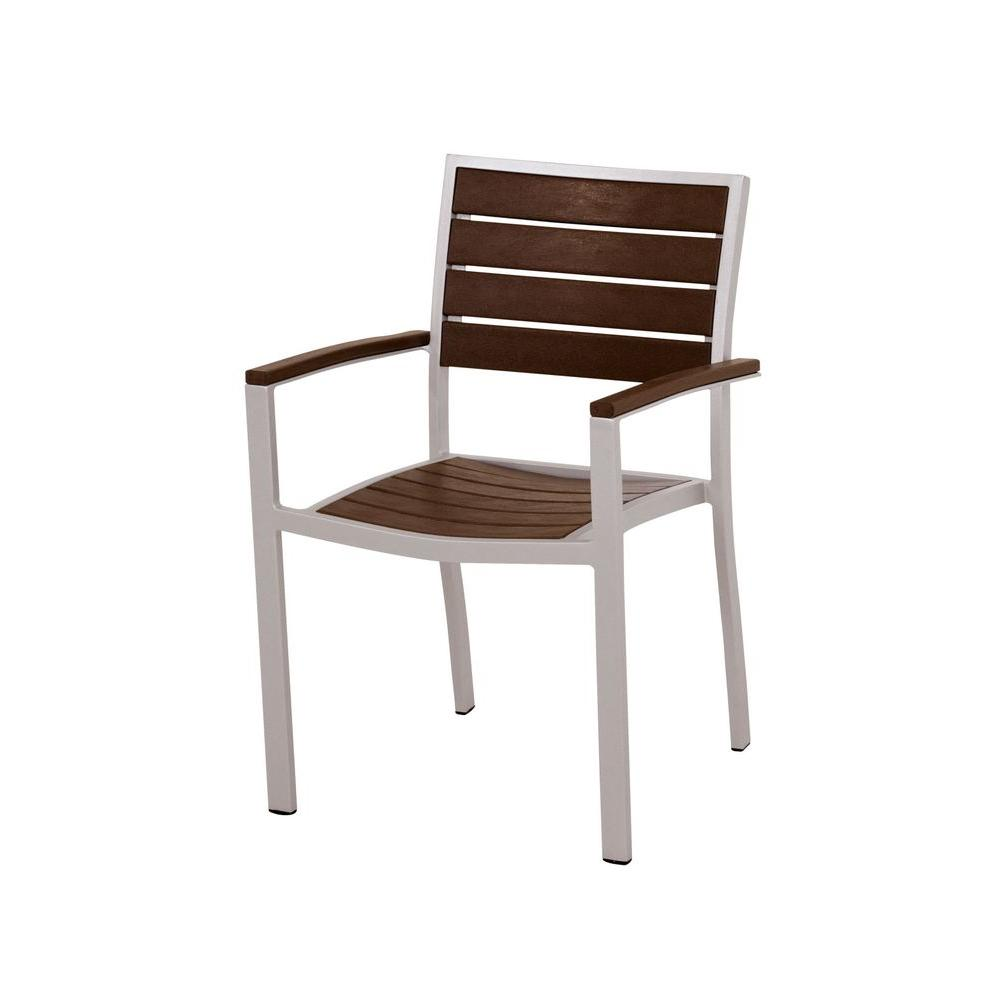 Euro Textured Silver Aluminum/Plastic Outdoor Dining Arm Chair in Mahogany Slats