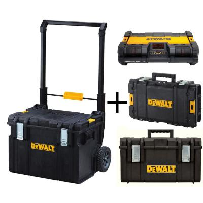 TOUGHSYSTEM Mobile Tool Box System with TOUGHSYSTEM Small Tool Box, Medium Tool Box and Stackable Radio (4-Piece Set)
