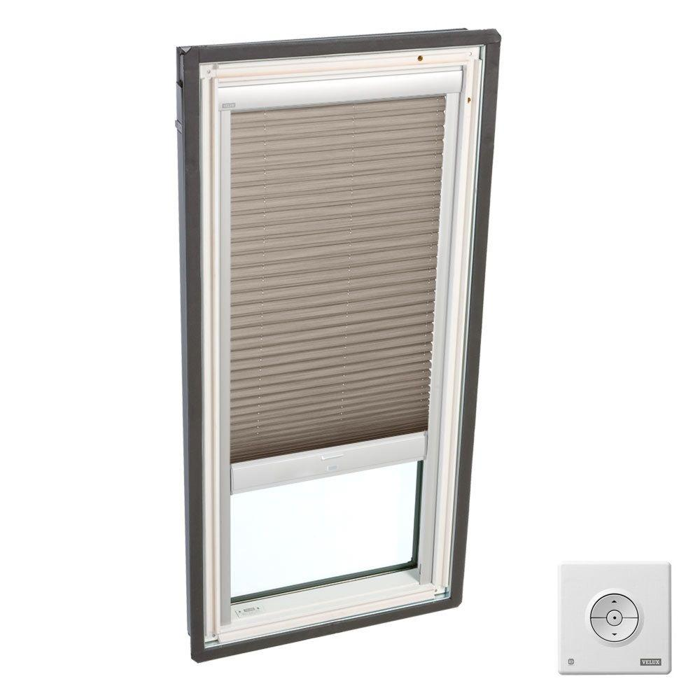 Velux cappuccino solar powered light filtering skylight for Velux solar powered blinds
