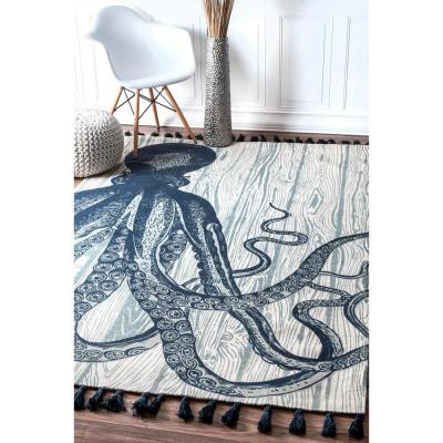 Thomas Paul Contemporary Octopus Ivory 8 ft. x 10 ft. Area Rug