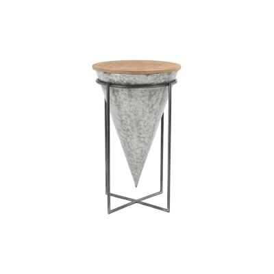 26 in. Gray Cone-Shaped Wood and Metal Bar Stool