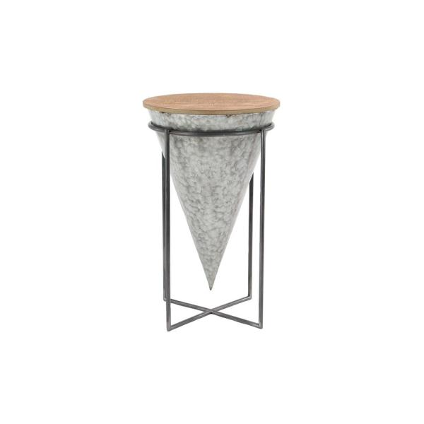 26 in. Gray Cone-Shaped Wood and Metal Bar Stool 98746