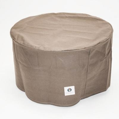 Elite 31 in. Tan Round Patio Ottoman or Side Table Cover