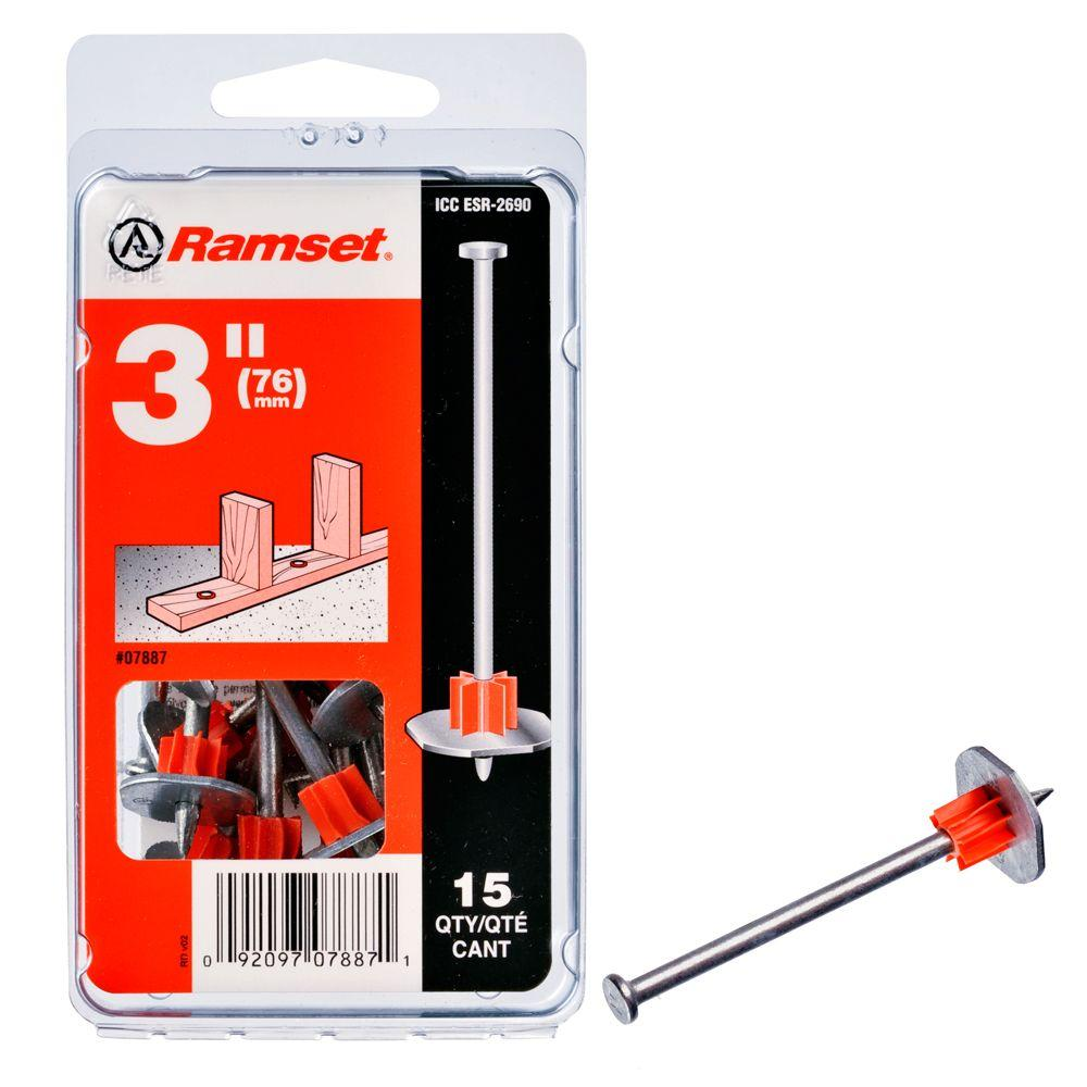 Ramset 3 in. Drive Pins with Washers (15-Pack)