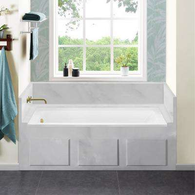 Voltaire 66 x 32 in. Acrylic Left-Hand Drain with Integral Tile Flange Rectangular Drop-in Bathtub in white