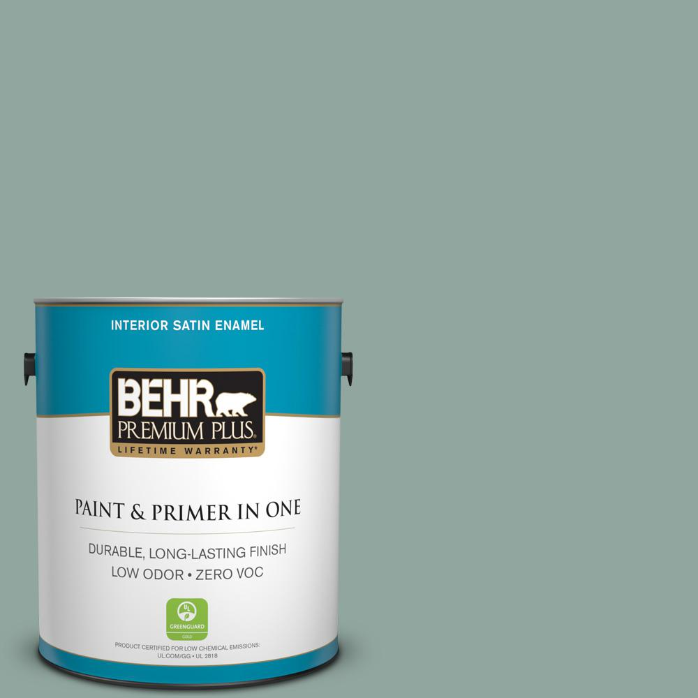 1 gal. #PPU12-05 Lotus Leaf Zero VOC Satin Enamel Interior Paint