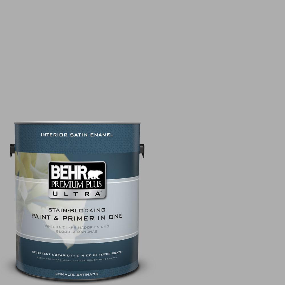 BEHR Premium Plus Ultra 1 Gal. #N520 3 Flannel Gray Satin Enamel Interior