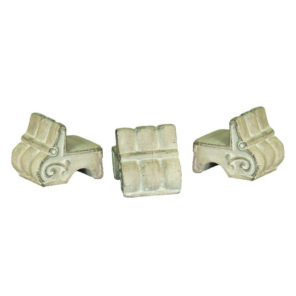 MPG 3 1/2 in. x 2 1/2 in. Pot Feet in Aged Limestone Finish (3-Set)