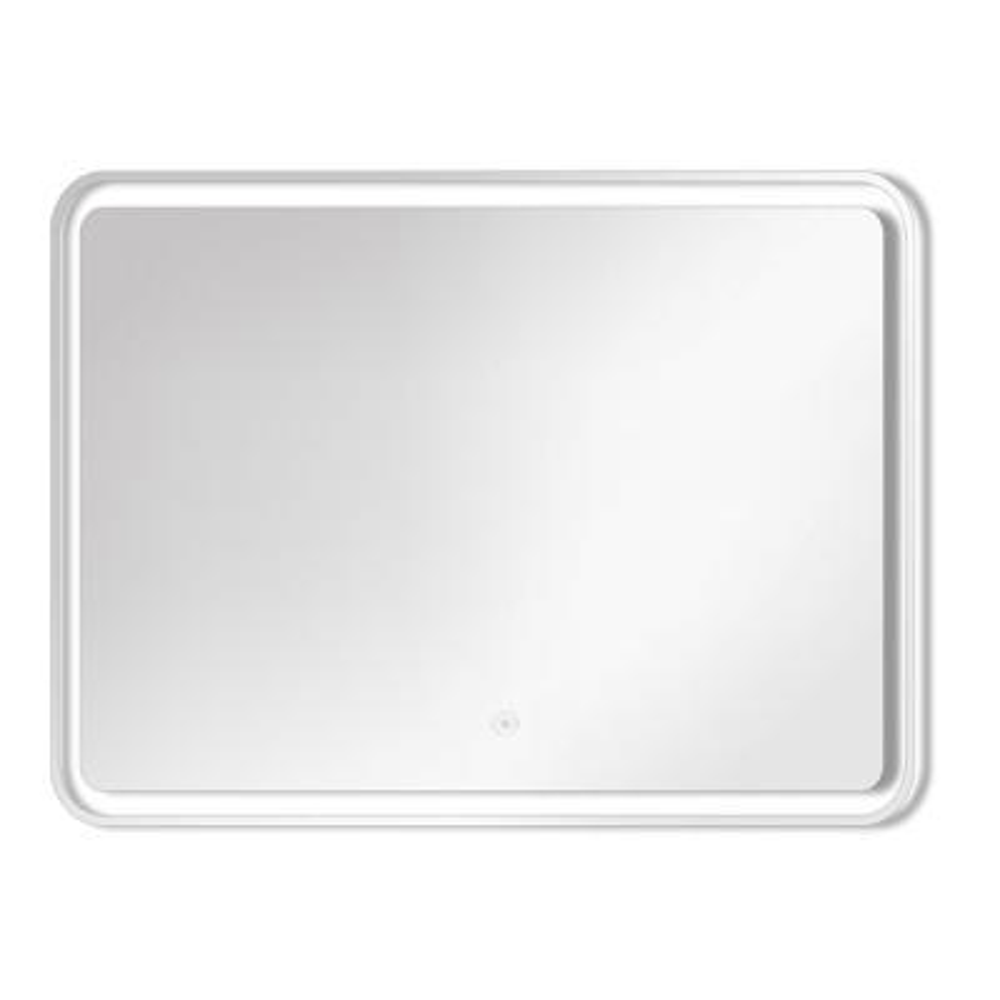 Gabriel 35.43 in. W x 27.56 in. H Frameless Square LED Light Bathroom Vanity Mirror in Silver