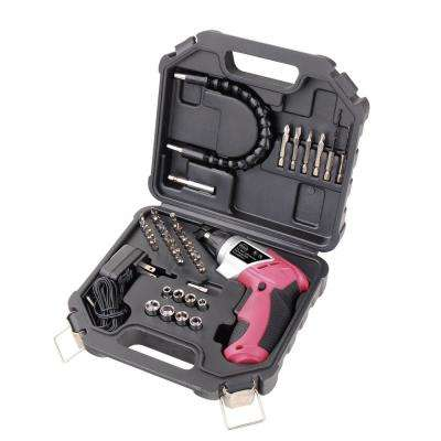 1.4 in. 3.6-Volt Lithium-Ion Rechargeable Electric Screwdriver with 45-Piece Accessory Set in Pink