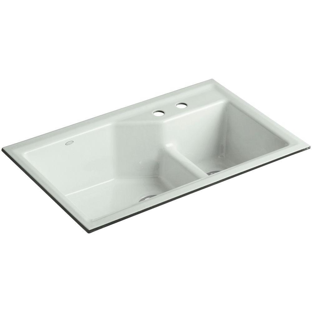 KOHLER Indio Smart Divide Undermount Cast Iron 33 in. 2-Hole Double Bowl Kitchen Sink Kit in Sea Salt