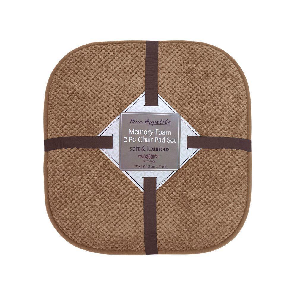 Bon Appetite 16 in. x 17 in. Linen Memory Foam Cushioned Chair Pad (2-Pack)