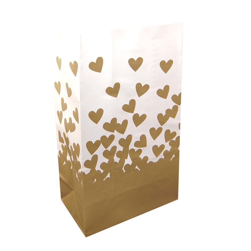Gold Hearts Luminaria Bag (24-Count)