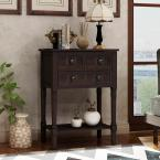 Espresso Narrow Console Table with 3-Drawers and Shelf