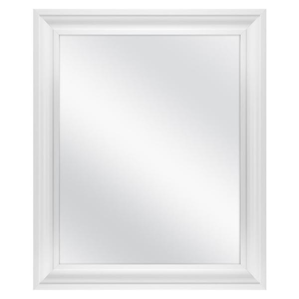 23.5 in. W x 28.5 in. H Framed Rectangular Anti-Fog Bathroom Vanity Mirror in White