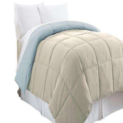 Reversible Oatmeal/Dusty Blue Down Alternative Queen Comforter