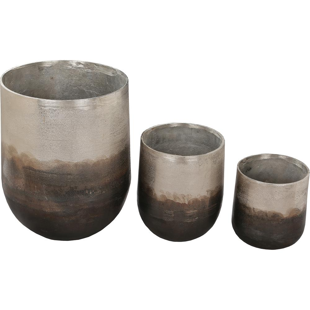 Hadron 14 in. x 10.5 in. Neo Pewter Copper Aluminium Planter (Set of 3)