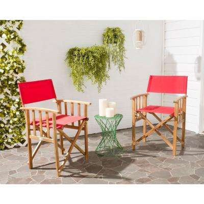 Laguna Teak and Red Folding Director's Chair (Set of 2)