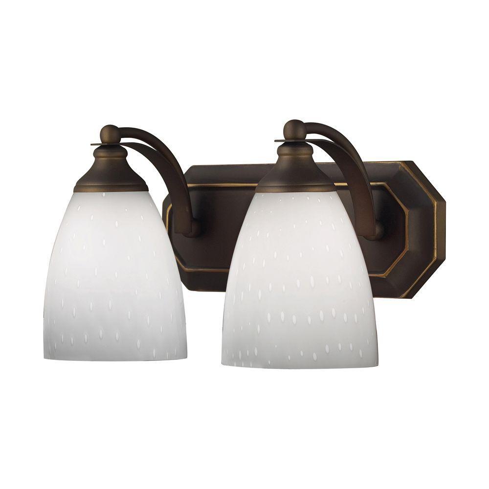 Titan Lighting 2-Light Aged Bronze Wall Mount Vanity Light