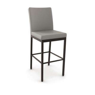 Perry 26 in. Textured Dark Brown Metal Warm Grey Polyurethane Counter Stool