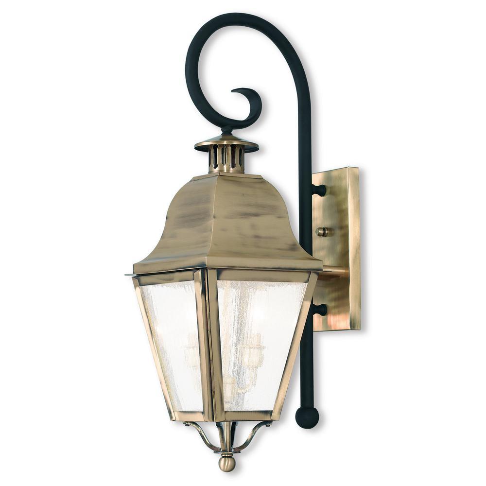 Amwell 2-Light Antique Brass Outdoor Wall Mount Lantern